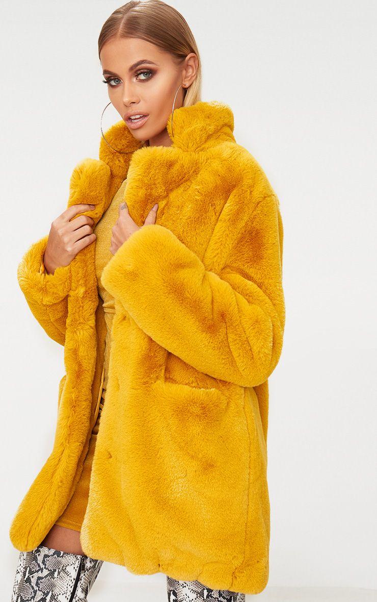 Mustard Premium Faux Fur Coat 1