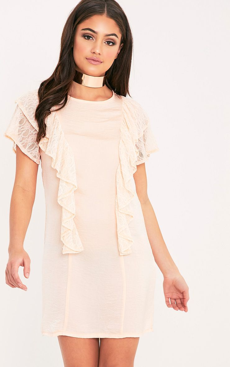 Melyssa Blush Lace Trim Shift Dress