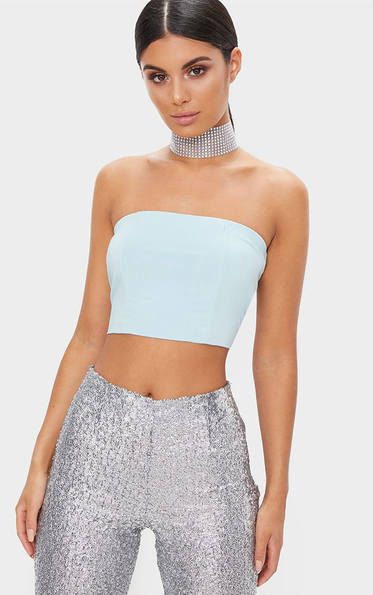 Pastel Blue Slinky Bandeau Crop Top