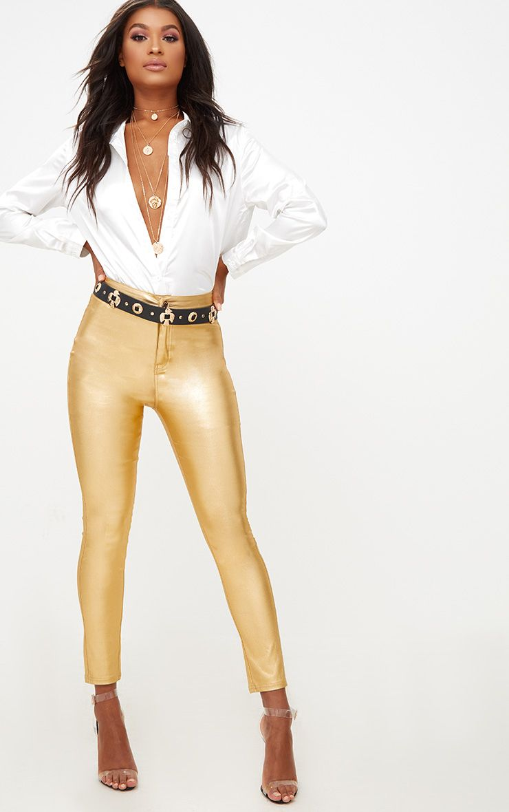 Gold Coated Disco Skinny Jean