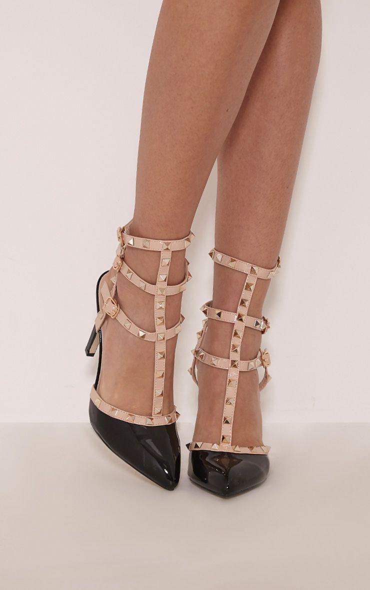 Skyler Black Triple Strap Studded Pointed Heels 1