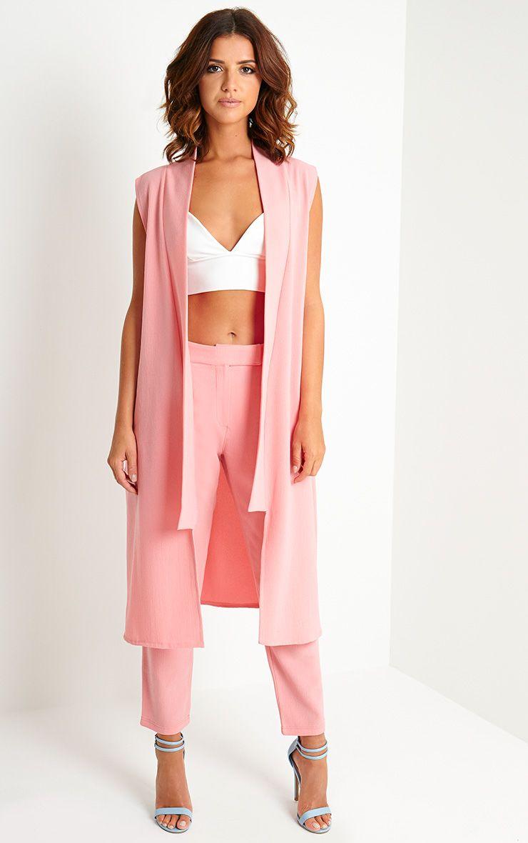Meela Pink Sleeveless Duster Jacket 1