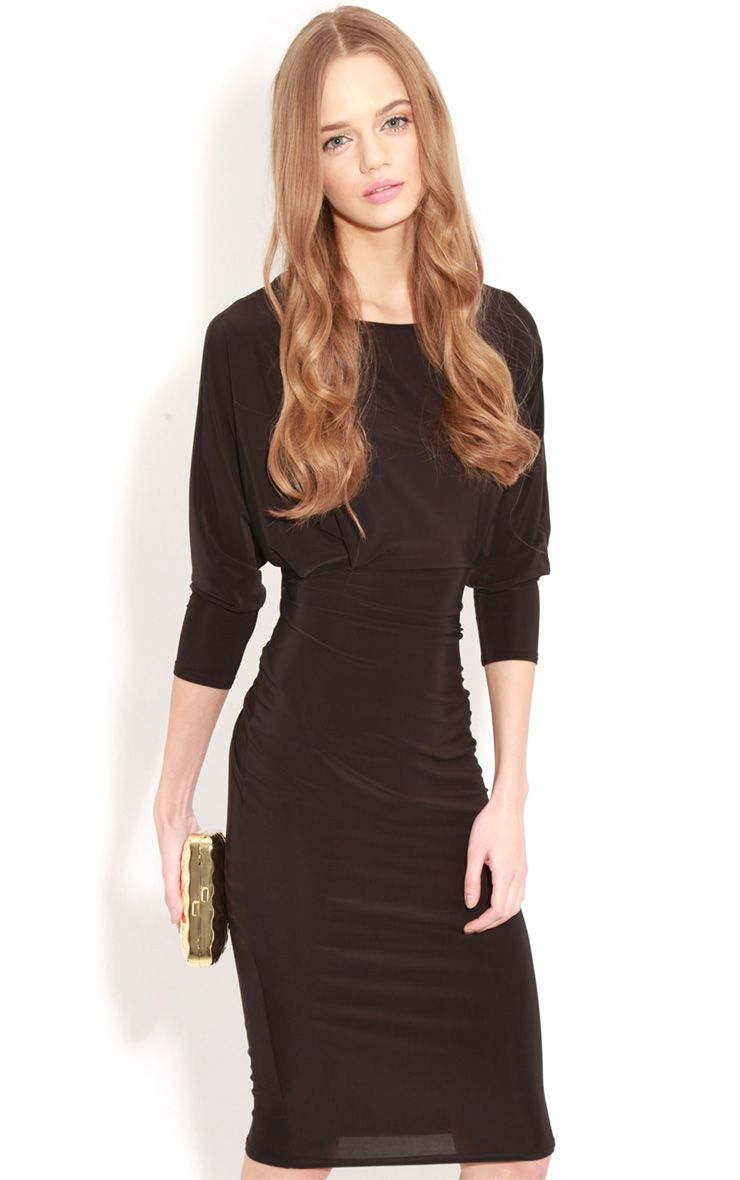 Edan Black Long Sleeve Bodycon Midi Dress  1