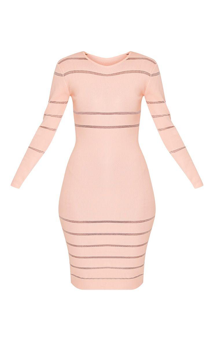 Serene robe midi tricotée à empiècements en tulle couleur chair 3