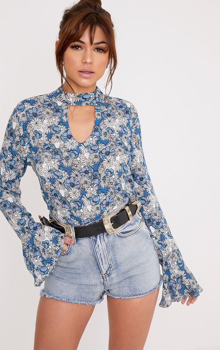 Looise Blue Floral Print Cut Out Neck Blouse