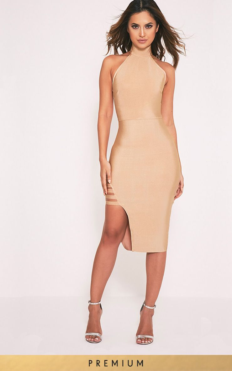 Dacia Camel Premium Bandage High Neck Midi Dress