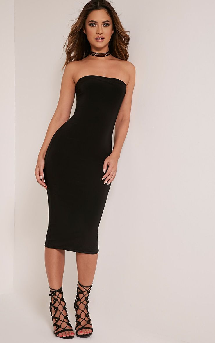 Kia Black Bandeau Slinky Midi Dress