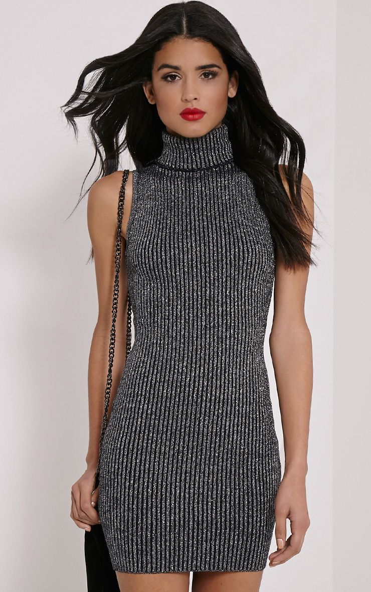 Tanya Silver High Neck Metallic Knitted Dress 1