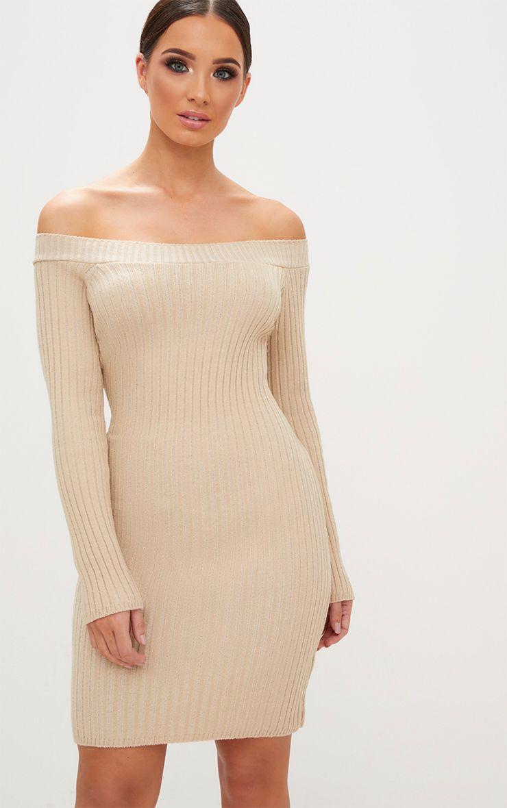 Stone Knit Bardot Mini Jumper Dress