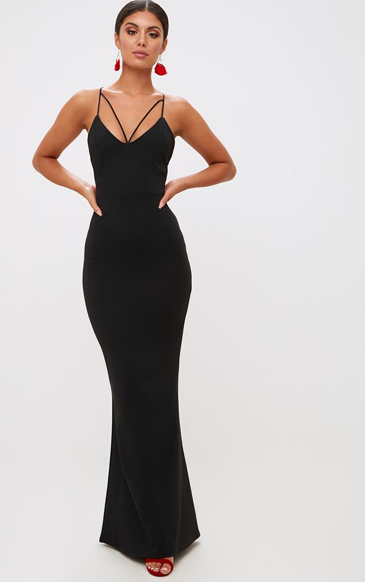 Black Strap Detail Strappy Maxi Dress