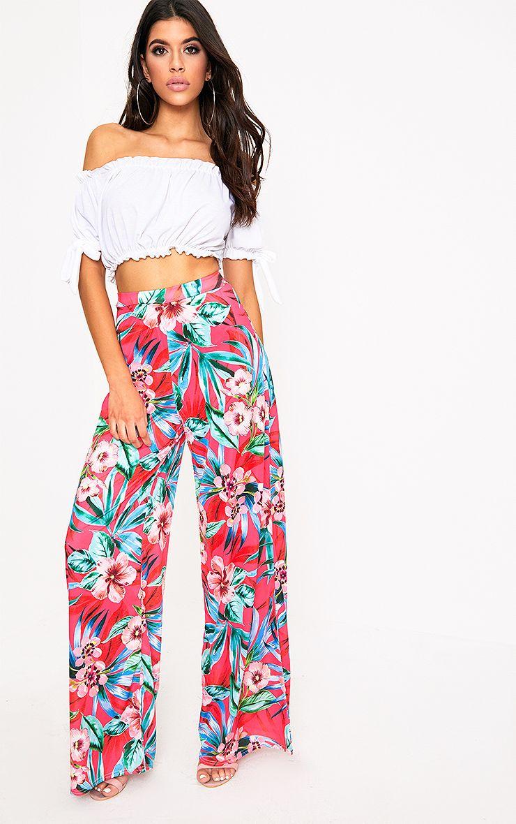 Fuchsia Tropical Floral Print Wide Leg Trousers