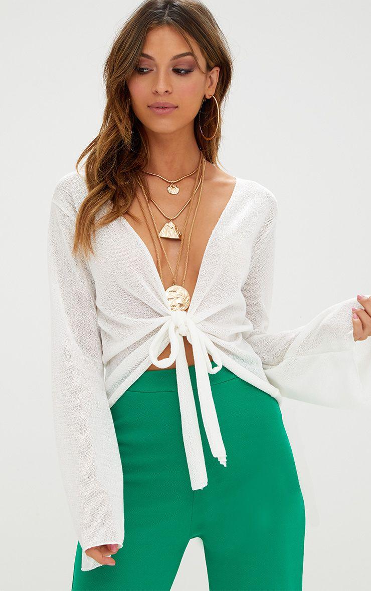 Cream Lightweight Knit Tie Front Longsleeve Top