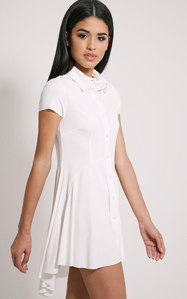 Shaya Cream Brushed Crepe Shirt Dress 1