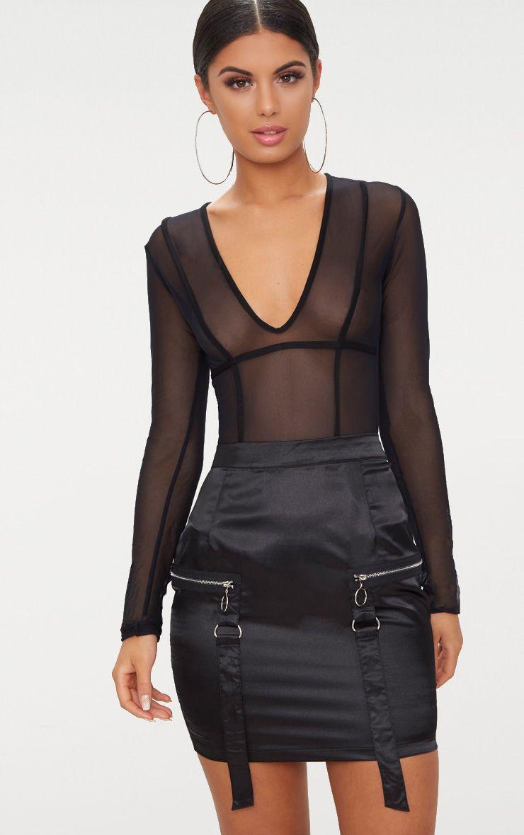 Black Satin Pocket Detail Mini Skirt