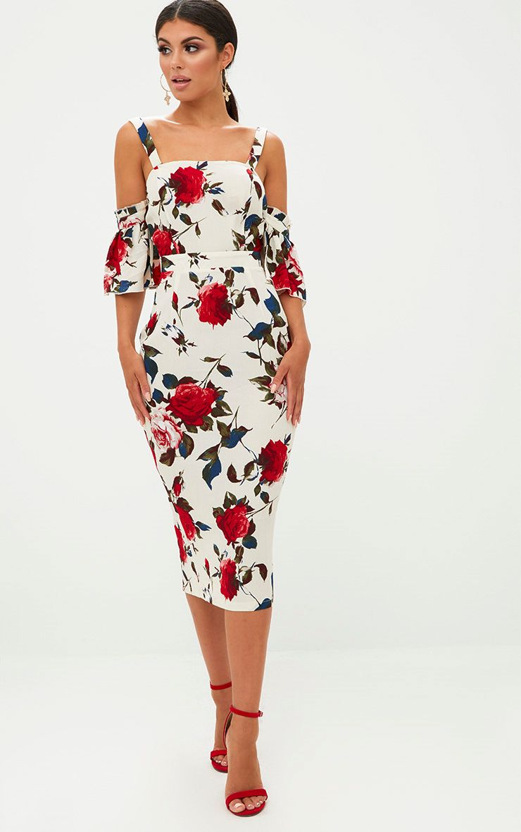 Cream Floral Cold Shoulder Midi Dress