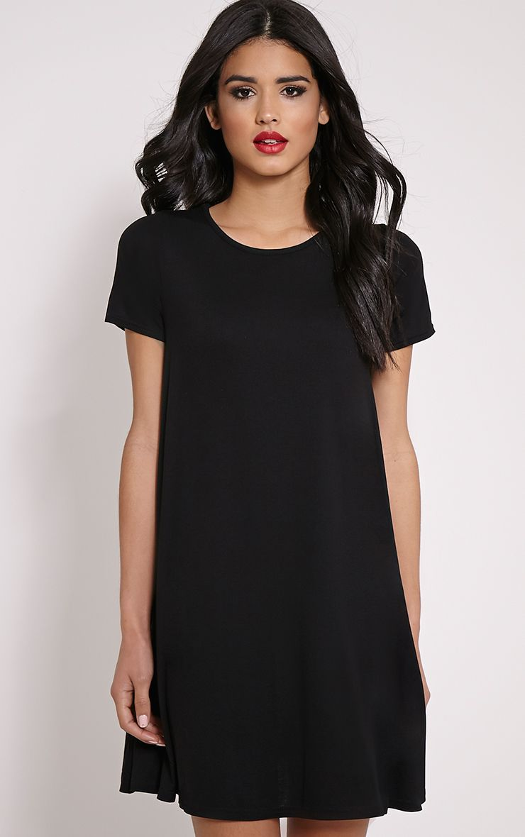 Basic Black Jersey Swing Dress