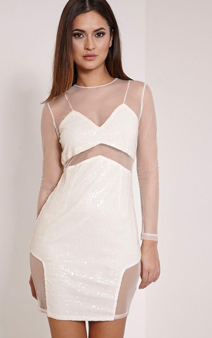Dakota Nude Sequin Mesh Bodycon Dress 1