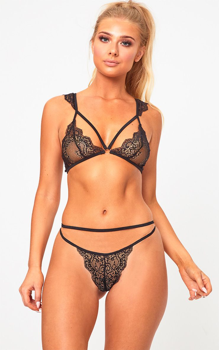 Black Lace Shoulder Detail Lingerie Set