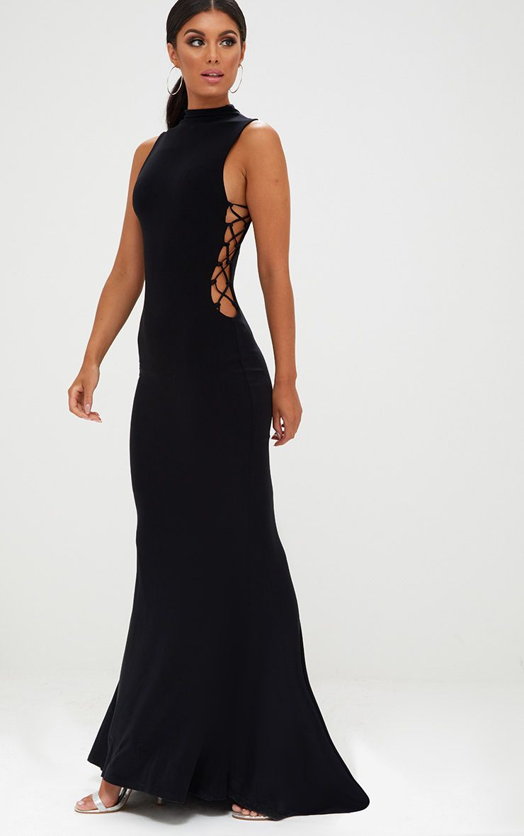 Black Lace Up Side Maxi Dress