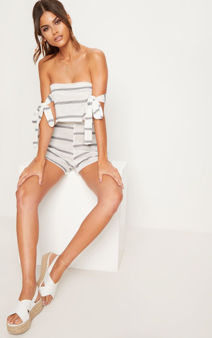 White Knitted Stripe Tie Sleeve Playsuit