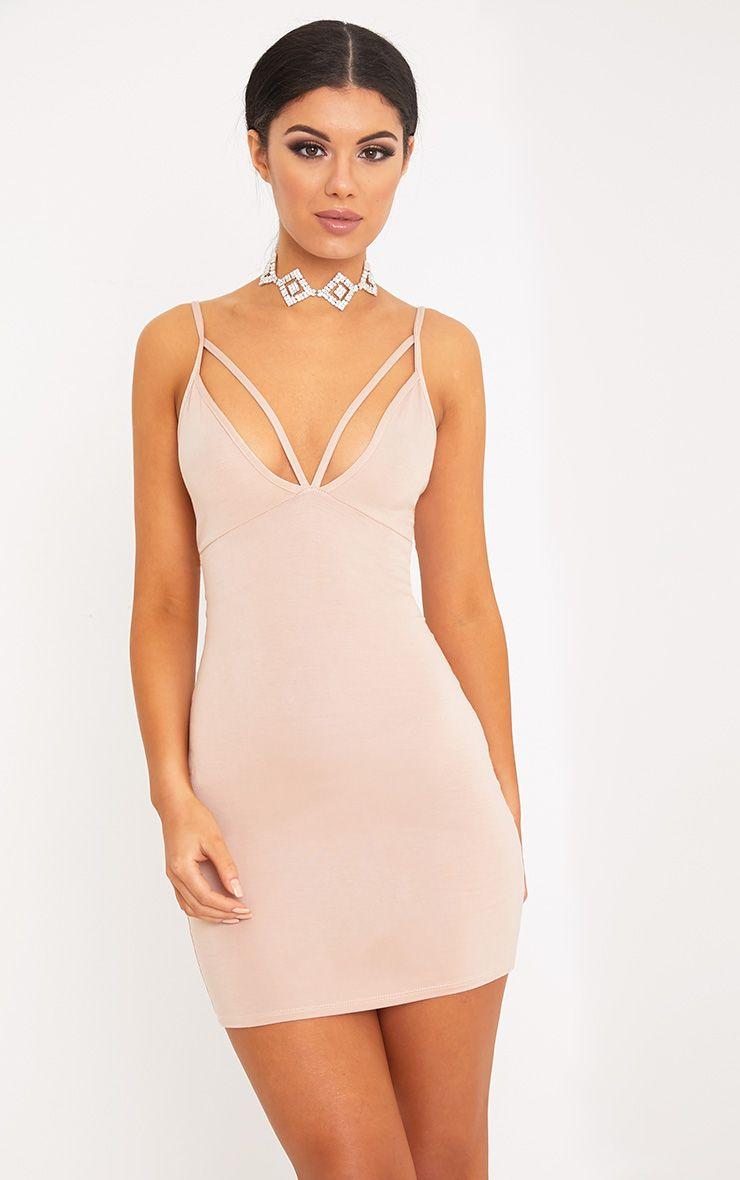Riana Nude Strap Detail Bodycon Dress