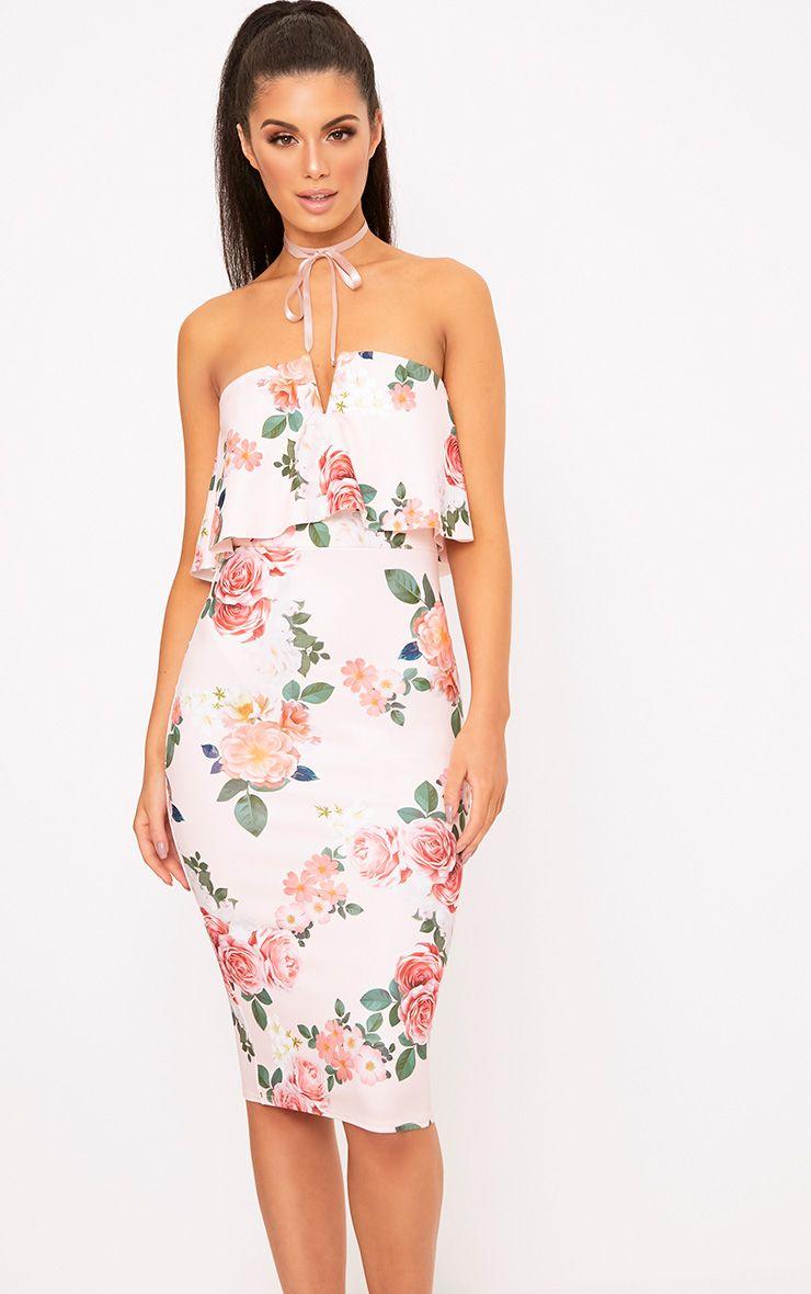 Norie Pink Floral Bandeau Midi Dress