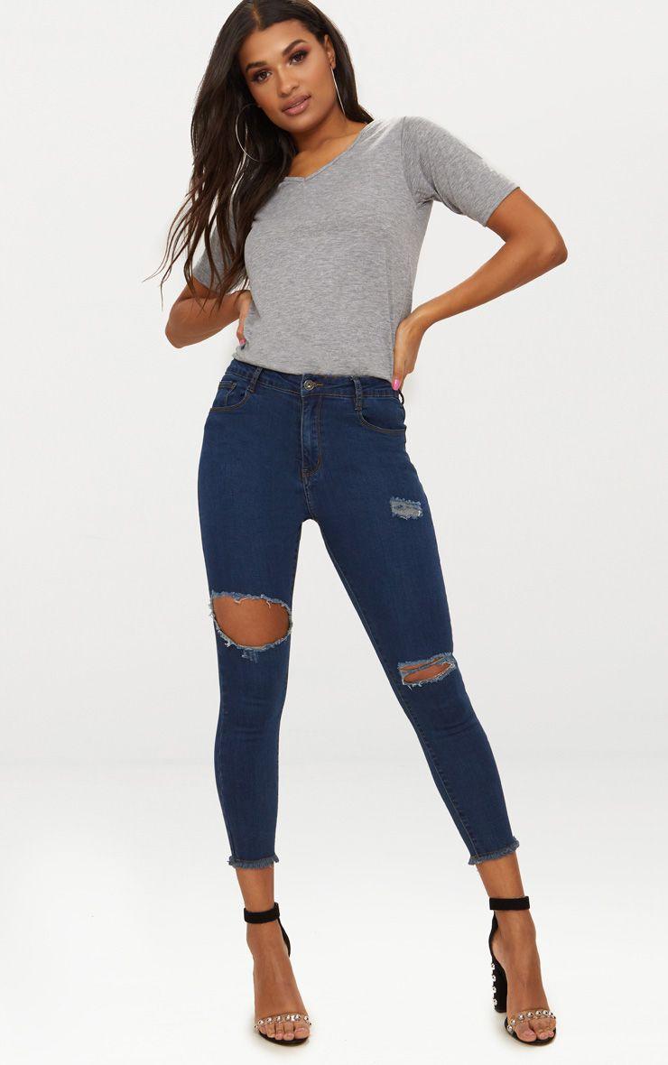 Dark Wash Knee Rip Distressed Skinny Jean