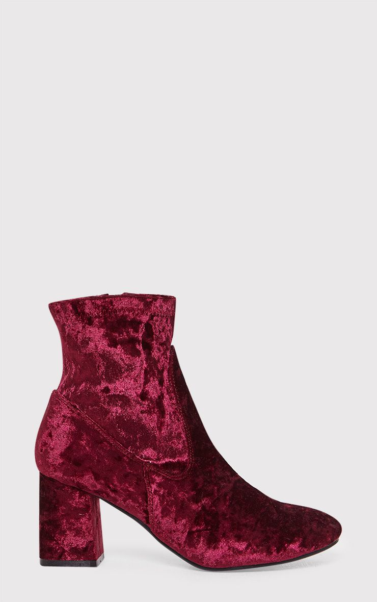 Hayden Wine Crushed Velvet Ankle Boots