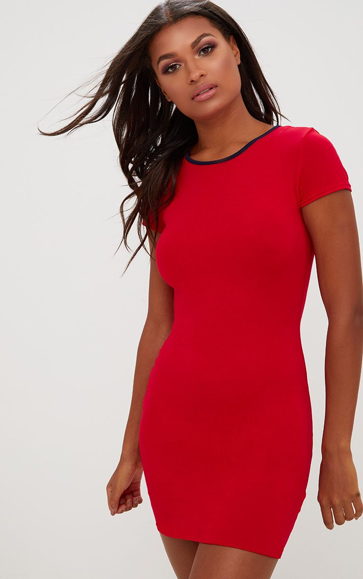 Red Contrast Binding Bodycon Dress