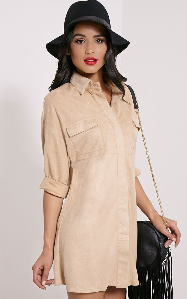 Primula Stone Faux Suede Shirt Dress 1