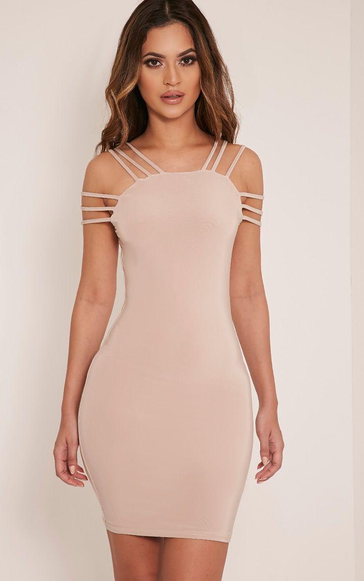 Kellia Stone  Multi Strap Detail Bodycon Dress 1