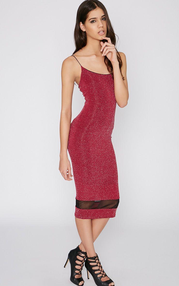 Jania Wine Glitter Midi Dress 1