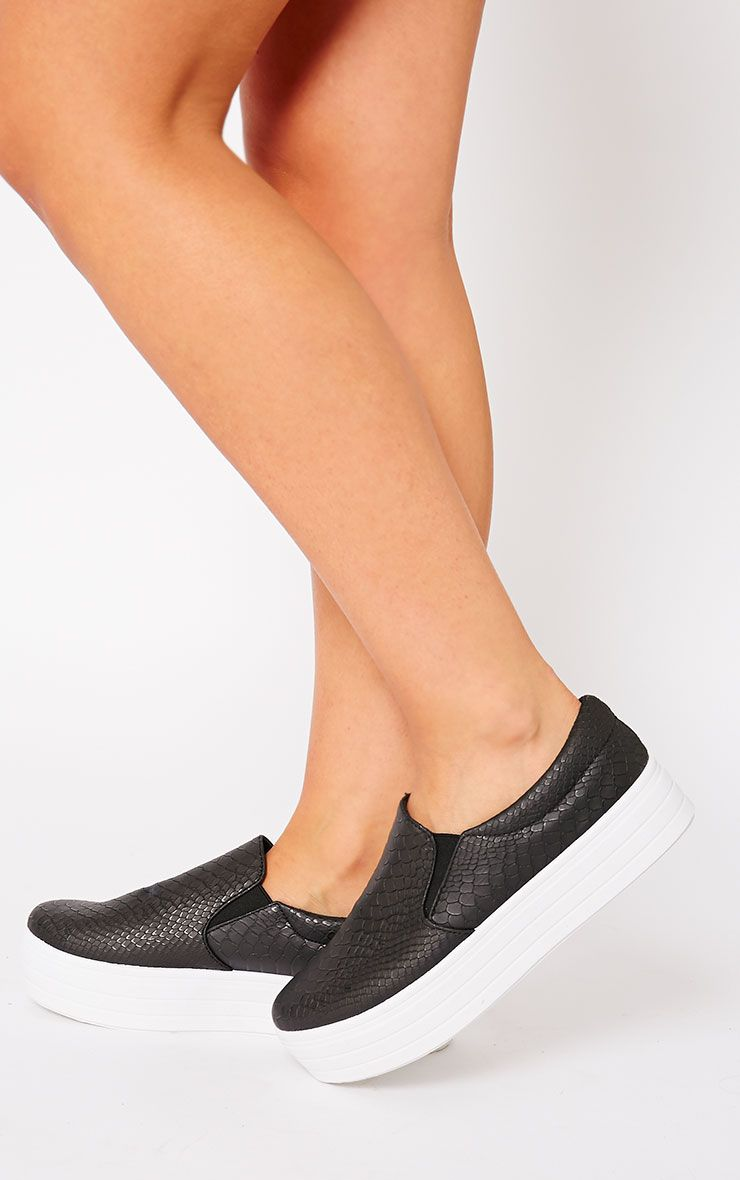 Katey Black Croc Flatform Skater Shoes 1