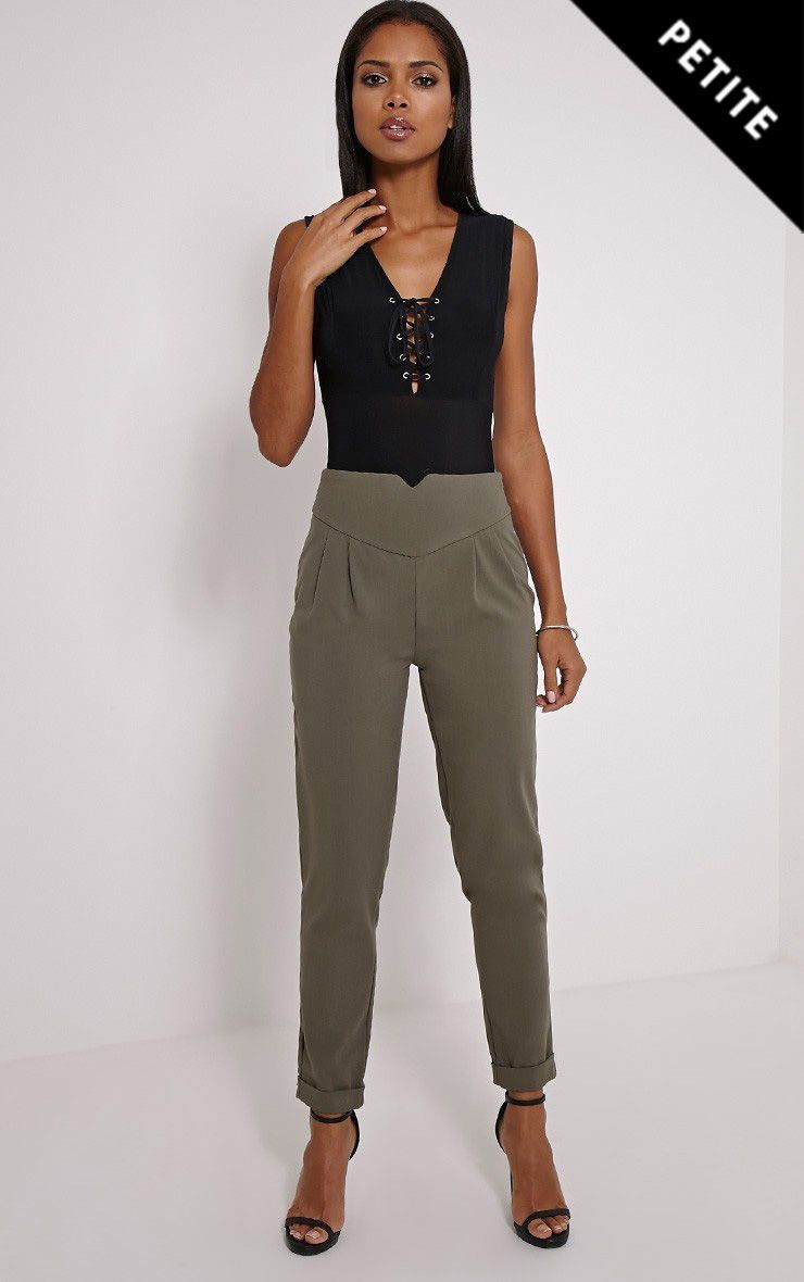 Petite Elenor Khaki High Waisted Tapered Trousers