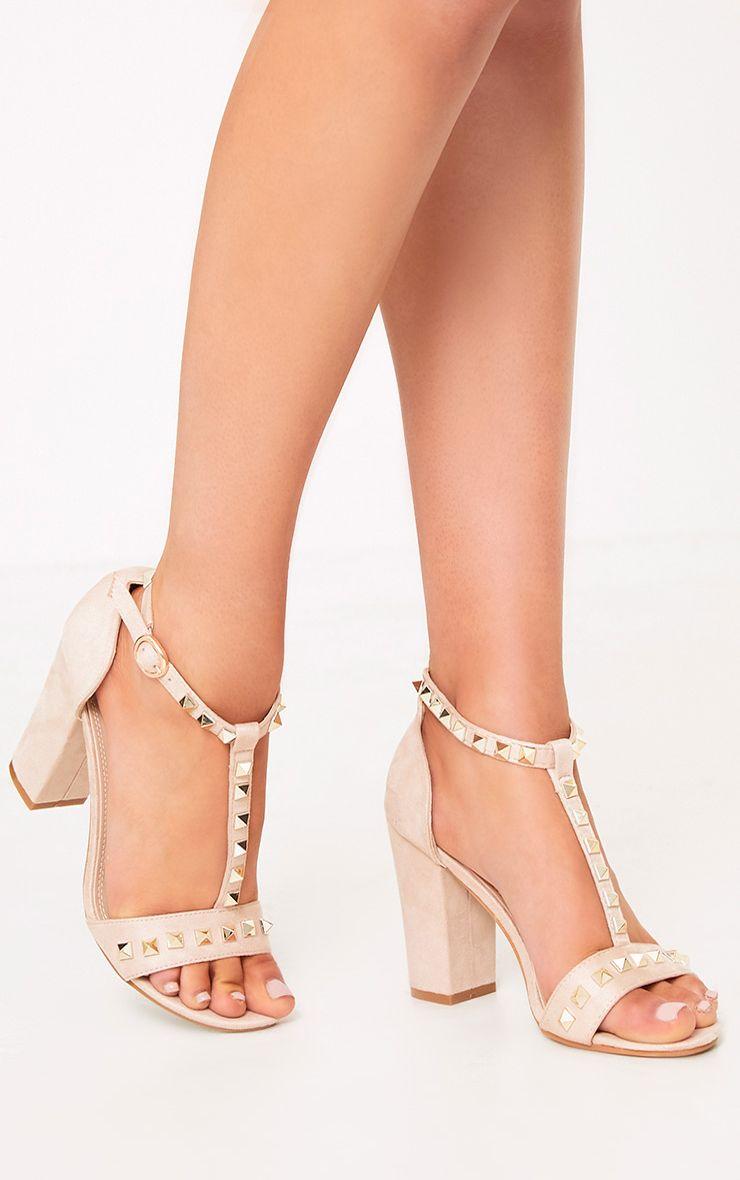Marinda Nude Studded Block Heels