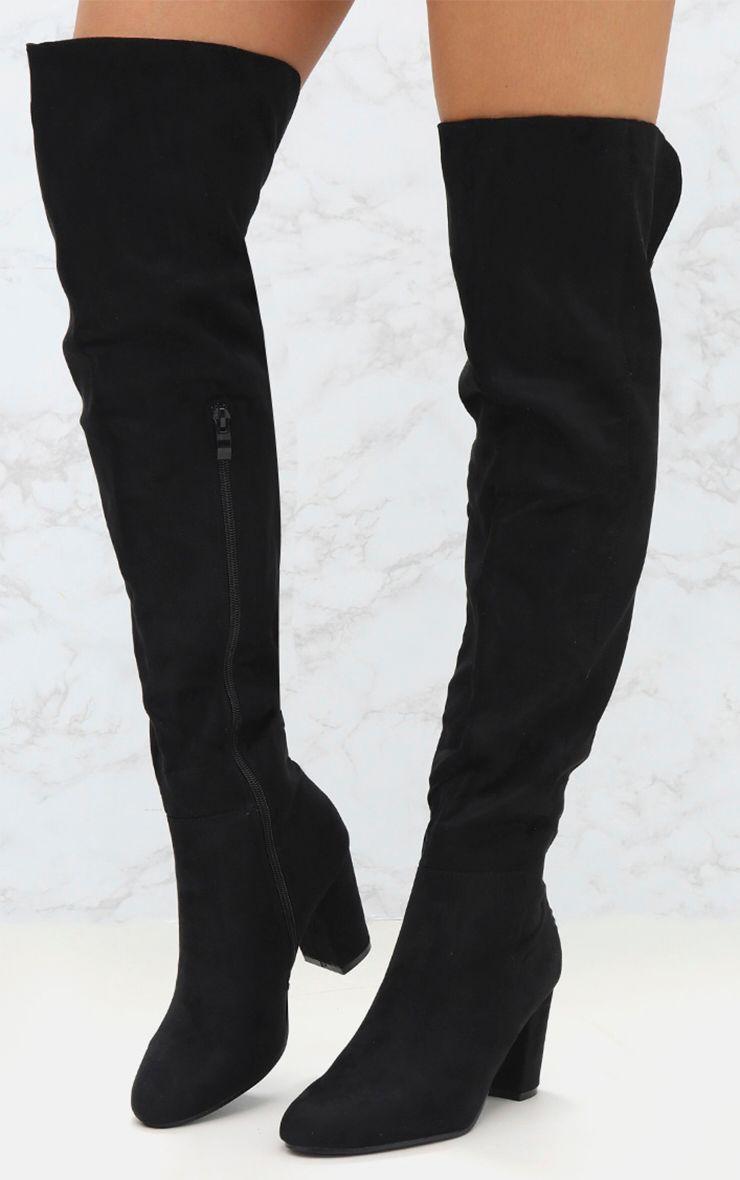 PRETTYLITTLETHING Microfibre Mid Heel Thigh Boot IkZmXTnqAu