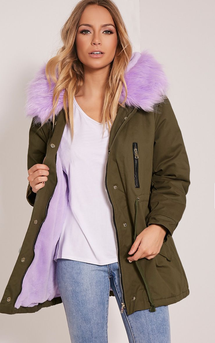Nia Lilac  Faux Fur Lined Parka 1