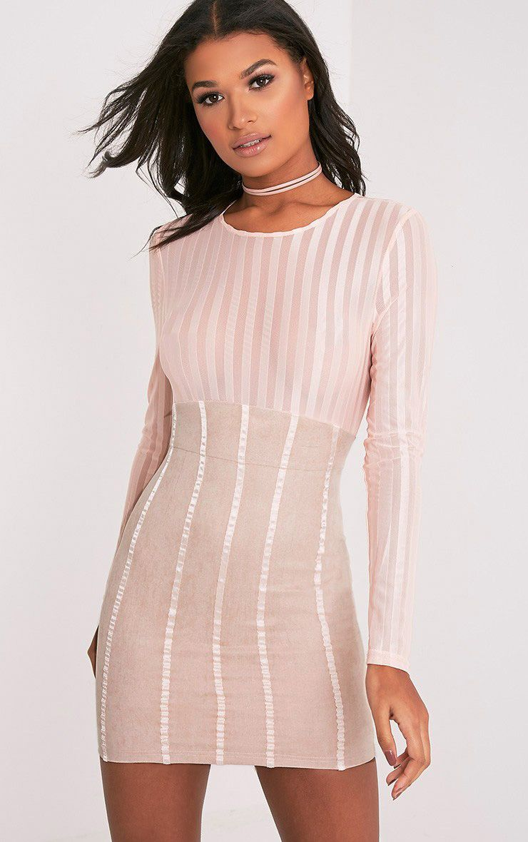Iryka Nude Mesh Stripe Suede Skirt Bodycon Dress