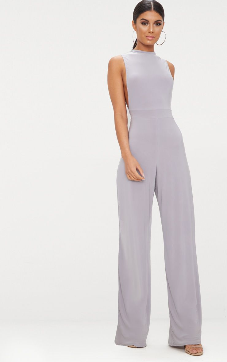 Ice Grey Slinky Side Boob Jumpsuit