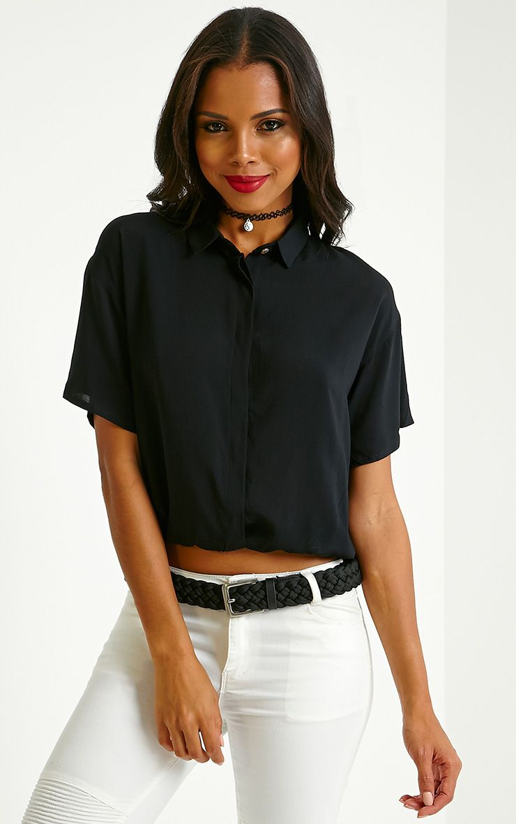 Hebe Black Button Front Shirt 1