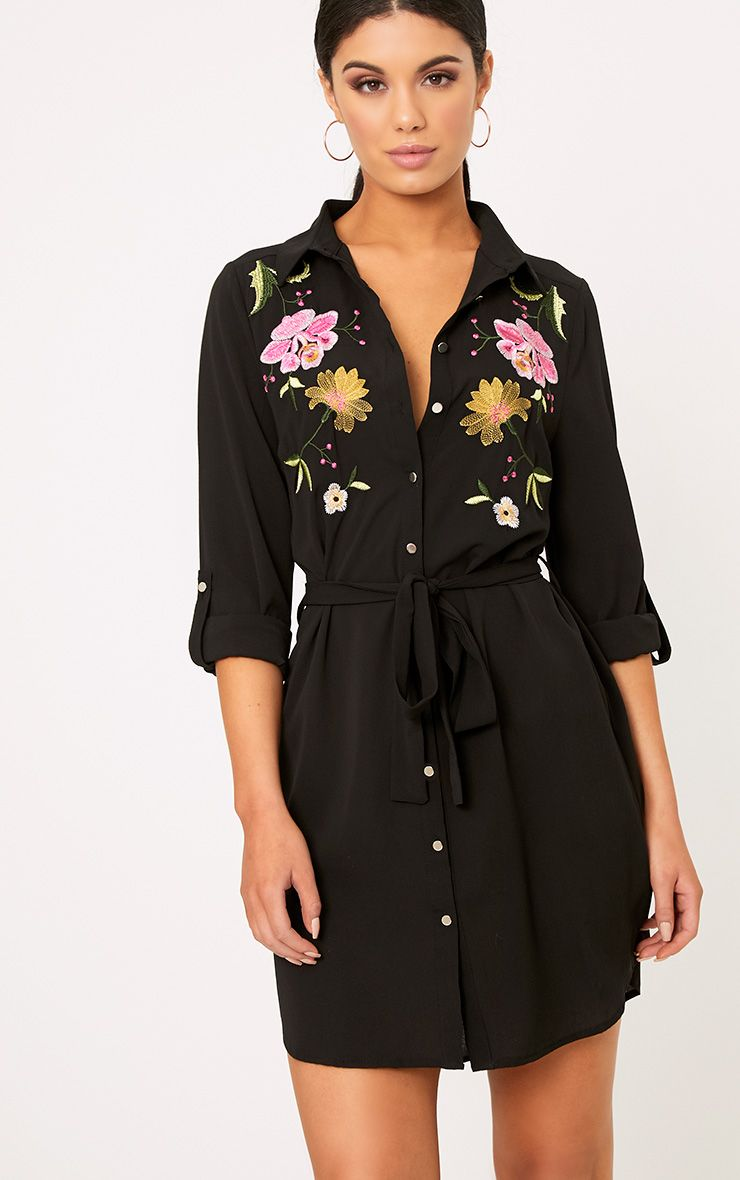 Erinie Black Embroidered Shirt Dress