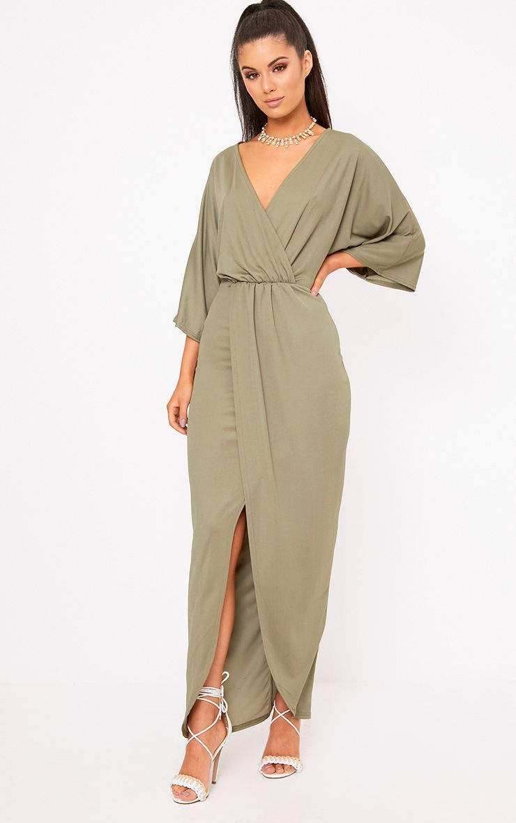 Archer Khaki Cape Maxi Dress