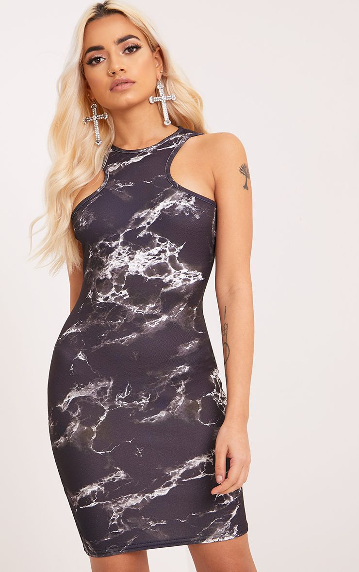Ivankah Black Marble Racer Neck Bodycon Dress