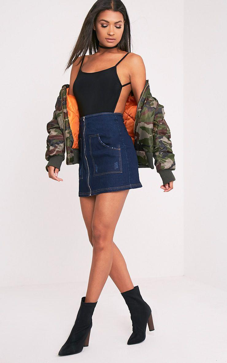 Devonna Black Backless Slinky Thong Bodysuit 1