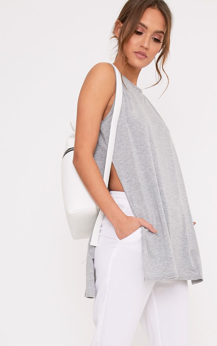 Grey Side Split Vest