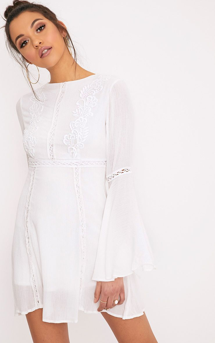 Product photo of Karmen white crochet lace insert swing dress white