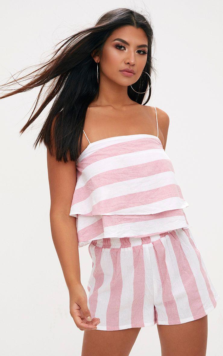 Pink Bold Stripe Beach Crop Top