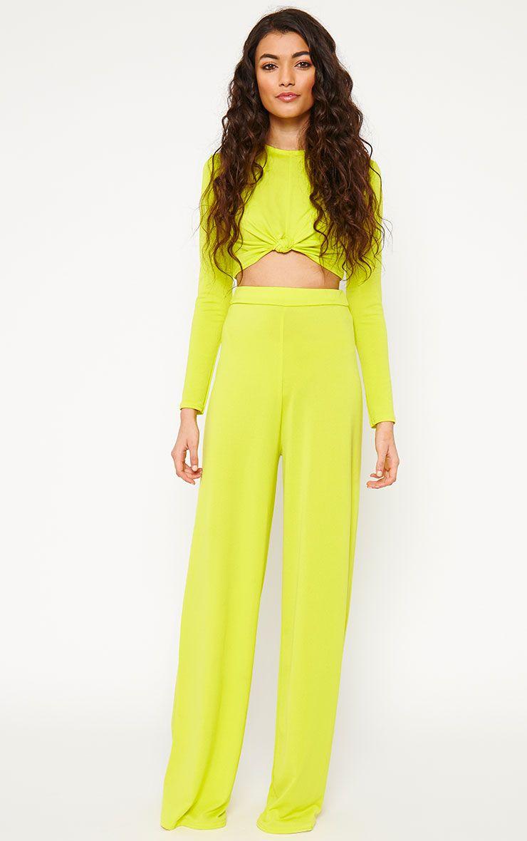 Zafia Lime Slinky Palazzo Trousers 1