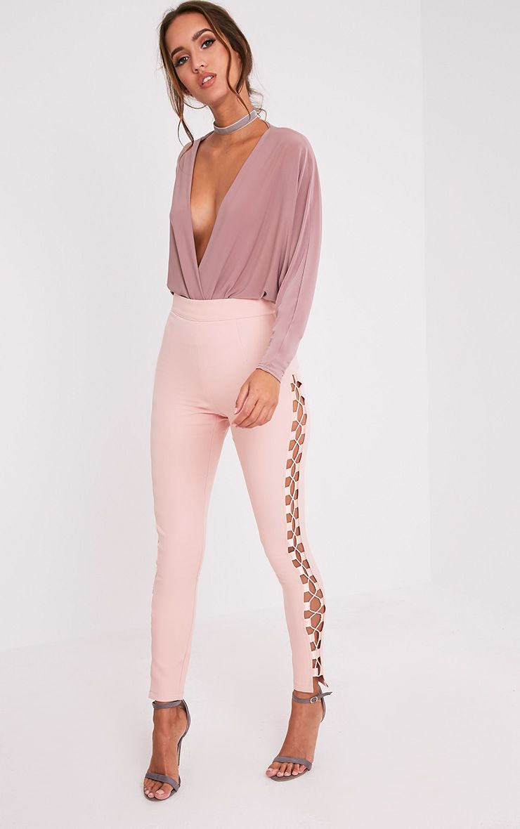 Anetta Dusty Pink Lace Up Side Skinny Trousers