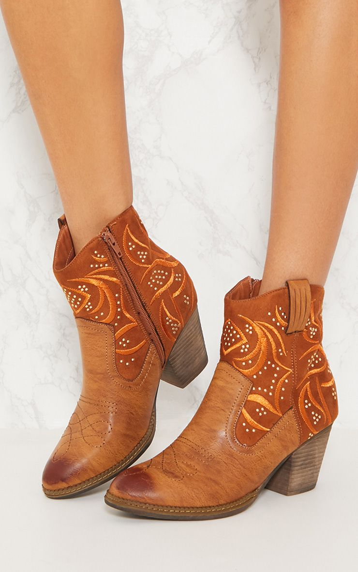 ... EMBROIDERY WESTERN ANKLE BOOTS ...